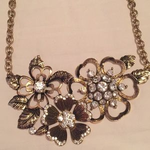Gold Floral and Rhinestone Necklace